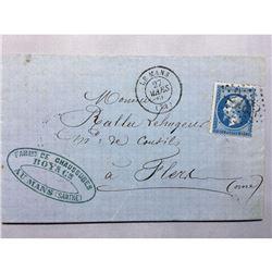1866 French Original Postmarked Handwritten Envelope with Letter