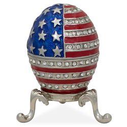 """2.5"""" USA Flag Enameled Jeweled Faberge Inspired Egg"""