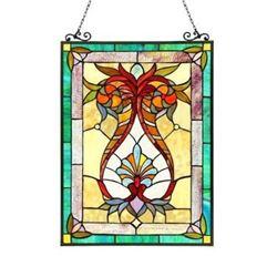 """THEODORE"" Tiffany-style Victorian Glass Window Panel 17.5X25"