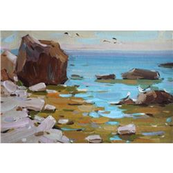 SUNNY SEASCAPE realism ORIGINAL OIL PAINTING colorful art by ANNA GUSAROVA