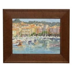20thc Signed Oil On Board, Harbor Houses & Boats