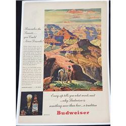 1945 Budweiser Grand Canyon Sunsets Ad