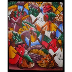 Signed Acrylic Painting, Haitian Farmers Market Ready To Frame 43.84 Idiot Sale
