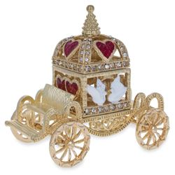 Royal Coronation Coach with Doves Trinket Box Figurine 3.25 Inches