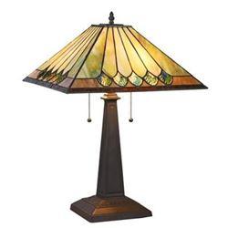 """GRAHAM"" Tiffany-style 2 Light Mission Table Lamp 16"" Shade"