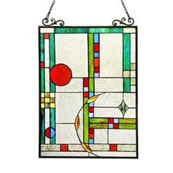 """MONDRIAAN"" Tiffany-glass Window Panel 17.5x25"