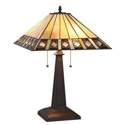 """""""GILES"""" Tiffany-style 2 Light Mission Table Lamp 16"""" Shade"""