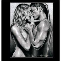 "Fine Russian Artist ""The Kiss"" - Original Pencil Drawing By Lianne Issa"