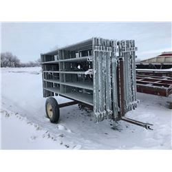 10' Panels w/ trailer mover, 2W Livestock, Lemco, VG condition, 24 panels total plus mover