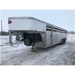 2018 Sundowner Aluminum cattle trailer, 30' x 8' wide x 6 1/2' tall, tri axle, good rubber, 3 compar