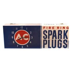AC Fire Ring Spark Plugs Advertising Clock