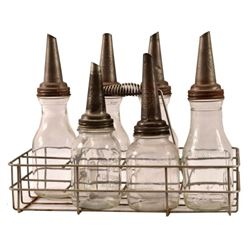6 Motor Oil Glass Bottles & Carrier