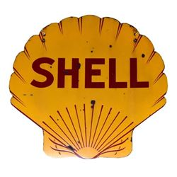 Shell Porcelain Double Sided Gas Station Sign