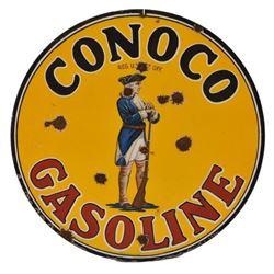 Conoco Gasoline Minuteman Porcelain Sign