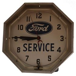 Ford Service Dealership Neon Clock