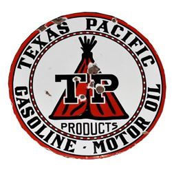 Texas Pacific Gasoline Motor Oil Porcelain Sign