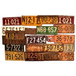 Collection of 1930s Texas License Plates