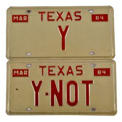 Pair of 1984 Texas Vanity License Plates.