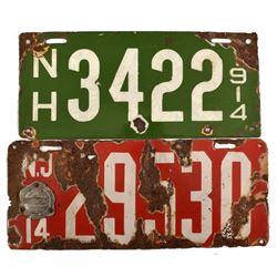 1914 Porcelain License Plates