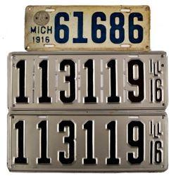 1916 License Plates Illinois