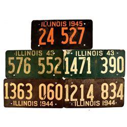 WWII Illinois Fiberboard License Plates 1943-45