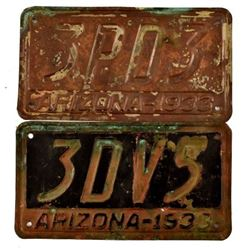 Pair of Copper 1933 Arizona License Plates