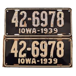 Pair of Un-issued 1939 Iowa License Plates