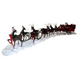 Santa Claus Sleigh Reindeer Life Size Display