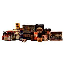 Display Case Full of Auto Memorabilia & Oil Cans