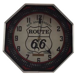 ROUTE 66 66th Anniversary Neon Clock