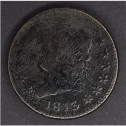 1813 LARGE CENT, VG/FINE porosity