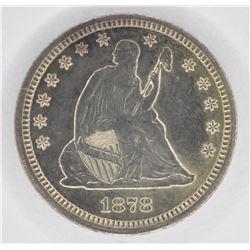 1878-CC SEATED QUARTER, CH BU