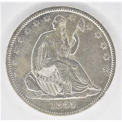 1865-S SEATED HALF DOLLAR, AU RARE CIVIL WAR DATE