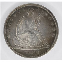1869 SEATED HALF DOLLAR, CH AU+ WITH COLOR