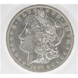1892-CC MORGAN DOLLAR, XF/AU