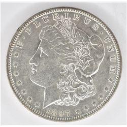 1897-O MORGAN DOLLAR, CH BU ORIGINAL
