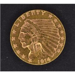 1914 $2.50 GOLD INDIAN, CH BU