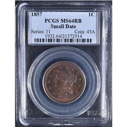 1857 SMALL DATE LARGE CENT PCGS MS-64 RB