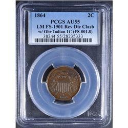 1864 2 CENT PCGS AU-55 LM DIE CLASH