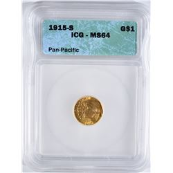 1915-S $1 GOLD PAN-PACIFIC COMMEM. ICG MS-64