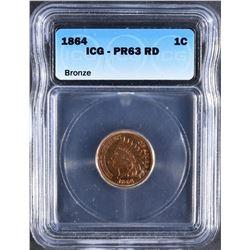 1864 BRONZE INDIAN CENT ICG PR-63 RD