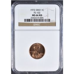 1972 DDO LINCOLN CENT NGC MS-66 RD FS-102