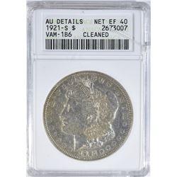1921-S MORGAN DOLLAR ANACS AU DET. CLEANED