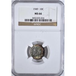 1949 ROOSEVELT DIME NGC MS-66 COLOR