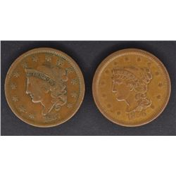 1837 CH VF & 1856 CH XF LARGE CENTS