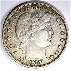 1907-D BARBER HALF DOLLAR, XF