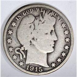 1915 BARBER HALF DOLLAR, CHOICE VG+