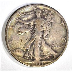 1933-S WALKING LIBERTY HALF DOLLAR, XF