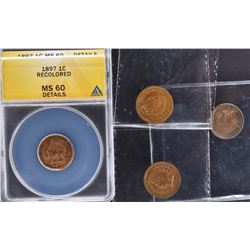 4 - INDIAN HEAD CENTS: 1897 ANACS MS 60 DETAILS,