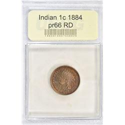 1884 INDIAN CENT, USCG SUPERB GEM PR RED